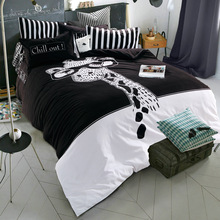 Wholesale autumn and winter cotton bedding of four Brushed thicker leopard giraffe and butterfly pattern free shipping