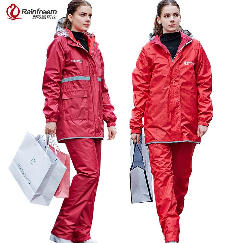Rainfreem Reversible Impermeable Raincoat Women/Men Rain Jacket Pants Suit Motocycle Raincoat Waterproof Poncho Rain Gear