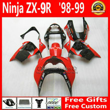 Low price! Custom fairing for Kawasaki Ninja fairings zx9r 98 99 ABS plastic ZX 9R 1998 1999 red bodyworks +7Gifts