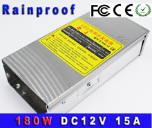 12V 15A 180W LED Power Adaptor Rainproof DC Switching Power Supply For Camera power control Free Shipping(China)