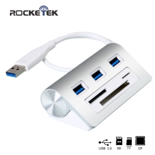 Rocketek High Speed Aluminum Usb 3.0 Hub with 3 Ports hab/Power Interface/TF SD CF Card Reader for iMac/MacBook/Laptop/notebook
