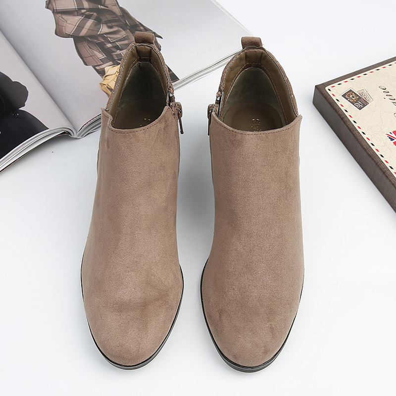Sales Ladies Ankle Boots Women low heel Sexy Short Boots Chunky Ladies Chelsea Boots khaki shoes<br><br>Aliexpress