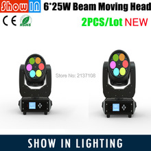 2017 DJ Disco Party Wedding Pub Stage Effect Projector Manufacturer 6*25W LED Super Beam Moving Head Light Free Shipping