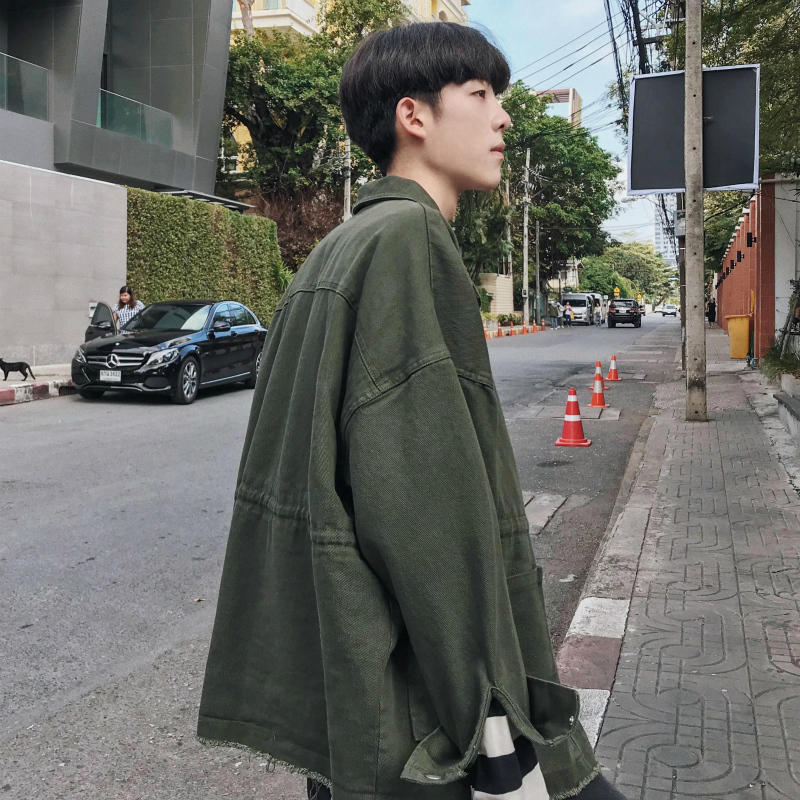 2018 autumn new loose fashion solid color simple casual jacket bf wind handsome men's wild cotton black / army green size M-2XL