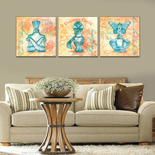 "Limited 3pcs wall art about ""Famous perfume"" wallpaper combination modern oil painting wall pictures for living room RM-UFO10"