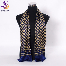 [BYSIFA] Navy Blue Gold Plaid Men Silk Scarves Fashion Accessories Autumn Winter Male Pure Silk Long Scarves Cravat 160*26cm(China)