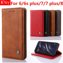 Flip Retro Leather Case For iPhone 6 6s Plus Luxury Card Holder Wallet Cover For iPhone 7 7 Plus 8 X Phone Bag Funda(China)