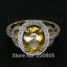 Vintage Oval 7x9mm Solid 14kt Yellow Gold Diamond Citrine Ring For Sale R2004