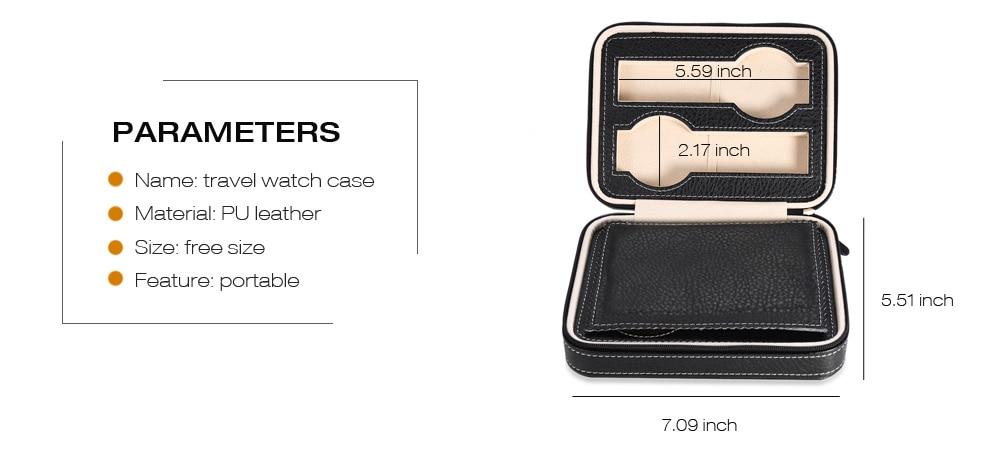 4 Grids PU Leather Travel Watch Storage Case Zipper Wristwatch Box Organizer