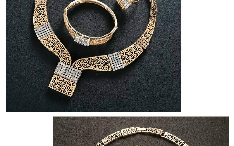 AYAYOO Women Jewelry Sets Dubai Earrings Bracelet African Beads Jewelry Set 2018 Nigerian Wedding Gold Color Jewellery (4)