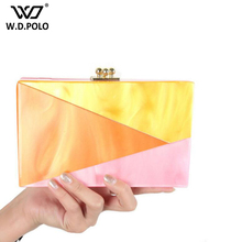 WDPOLO acrylic material women evening bag fashion party clutch bags new trendy easy taking women bags lady shoulder bags C068(China)