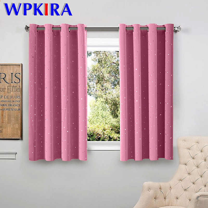 Shiny Stars Children Cloth Curtains For Living Room Kids Boy Girl Bedroom Blue/Pink Blackout Cortinas Custom Made Drape wp123-45