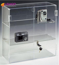 Acrylic countertop 2 shelves hinged display case with locking door  JH172