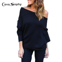 Cova Sophy Black Off Shoulder Knitted Blouses Women Elegant Batwing Sleeve Jumper Pull Femme Winter Casual Loose Pullover(China)