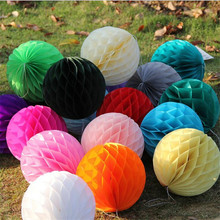 10pcs /lot 6inch 10cm can mixed colors of silk lantern paper honeycomb in the logs for the house of marriage and birthday par(China)
