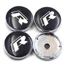 Gzhengtong Car Emblem Wheel Hub Caps Center Cover Caps R Racing Center Caps in Black Color for VW 4pcs/Set 60mm(China)