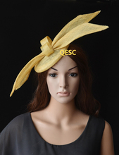 NEW Design Champagne gold sinamay fascinator with sinamay loops for Tea Garden party Royal Races Kentucky derby.(China)