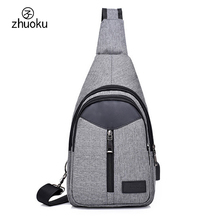 Crossbody Men and women bag Hot-selling USB Charging smart Anti theft shoulder bags Messenger Chest bag phone bag ZK7113(China)