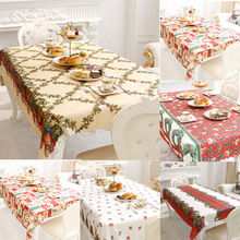 2017 Christmas Party Tablecloth Dining Kitchen Table Cover Protector Tablecloth Xmas Floral Table Cloth Kichen Decoration