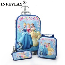3D stereo hot trolley case Cute Big Hero 6 kids Travel suitcase boy girl cartoon Lunch bag pencil box The Avengers children gift(China)