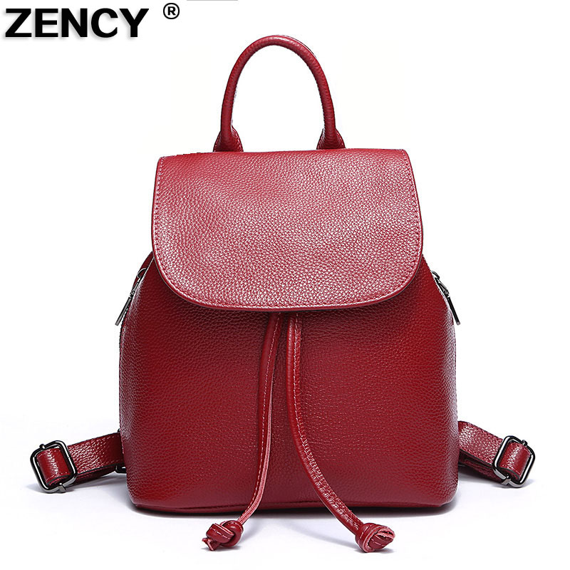 Small Fashion New Women 100% Soft Natural Genuine Cow Leather Backpack Female Designers Ladies Cowhide Woman Casual Bags Girls<br>