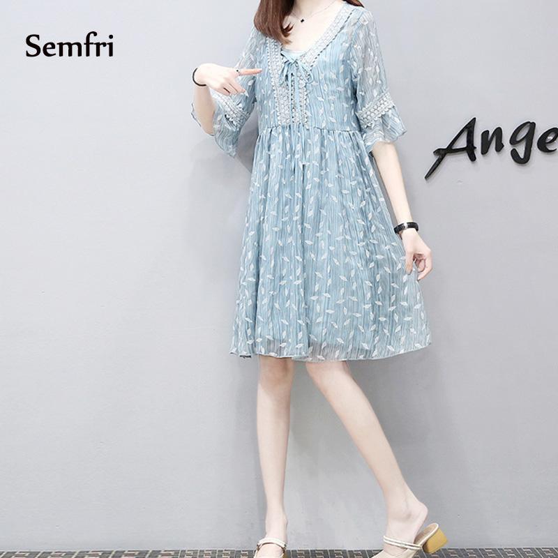 Semfri Blue Printed Chiffon Dress Women Summer Sexy V Neck Short Sleeve Dress Plus Size 5xl Ladies Sweet Clothes Streetwear 2019 10 Online shopping Bangladesh