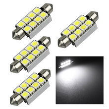 4PCS High Quality 42mm 8 SMD 5050 LED Pure White Dome Festoon CANBUS Error Free Interior Car Reading Light Parking Lamp Bulb 12V