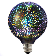 6W LED 3D Decoration Light Bulbs 85V-265V Novelty RGB Lamp A60/ST64/G80/G95/G125 Filament Fireworks Ball Light for Home Holiday