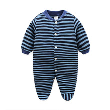 Newborn Brand Baby Romper Striped Fleece Romper Baby Boy Girl Spring Autumn Baby Romper Jumpsuit With Foot Newborn Baby Clothing