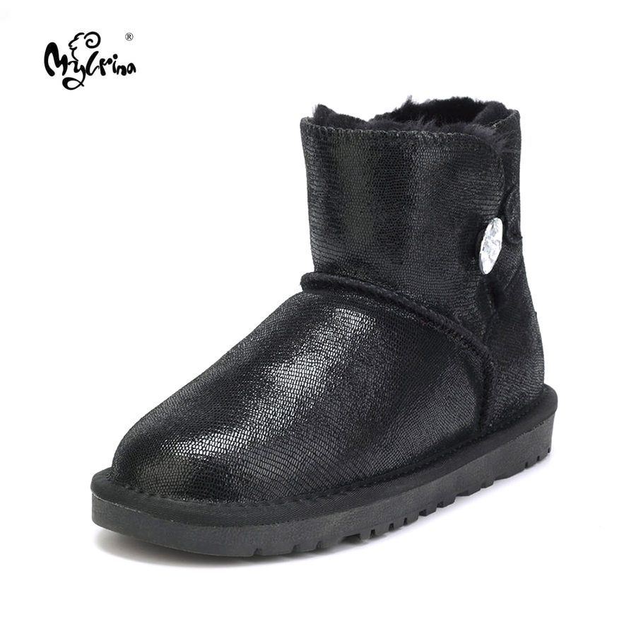 MYLRINA 100% Real Fur Classic Women Boots Waterproof Genuine Cowhide Leather Snow Boots Winter Shoes for Women<br>