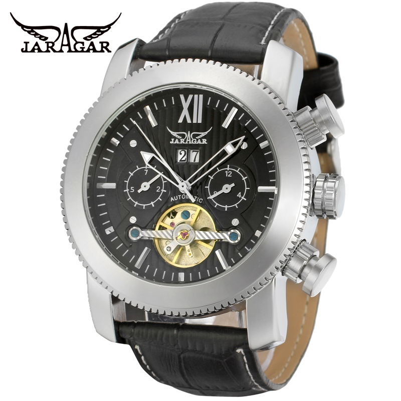 Fashion JARAGAR Men Luxury Brand Watch Military Tourbillion Automatic Mechanical Leather Wristwatches Gift Box Relogio Releges<br><br>Aliexpress