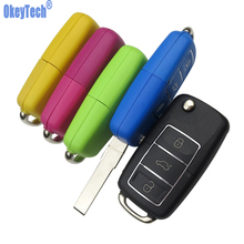 OkeyTech Auto Car Key Shell For Volkswagen for Vw for Skoda Jetta Golf Passat Beetle Polo Bora 3 Button Replacement Flip Remote(China)
