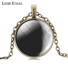 LIEBE ENGEL Fashion Art Picture Statement Necklace Vintage Moon Bronze Necklace&Pendant for Women Summer Style Fine Jewelry