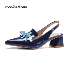 Big Size 11 12 13 14 15 16 17 Elegant Flower Pointed Toe Casual Square heel Women's Shoes High Heels Pumps Woman For Women