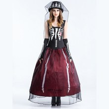 Ghost Bride Series Cosplay Costumes Scary Skull Vampire Queen Long Dress Zombie Witch Fancy Dress for Halloween