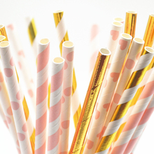 25pcs Pink Gold Striped Mixed Kids Birthday Wedding Decorative Party Decoration Event Supplies Drinking Paper Straws