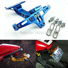 New Universal Motorcycle Adjustable Aluminum License Number Plate Frame Holder Bracket with light For KTM Kawasaki Yamaha Hond(China)