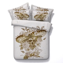 6 Parts Per Set Bed Sheet Set Day of the Dead Gold Sugar Skull 3d Bedding