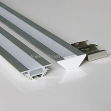 10m (10pcs) a lot, 1m per piece, led aluminum profile for led strips with milky diffuse cover,