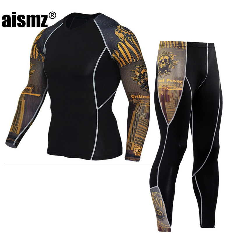 Aismz men's thermal underwear male apparel sets autumn winter warm clothe riding suit quick drying thermo underwear men clothing