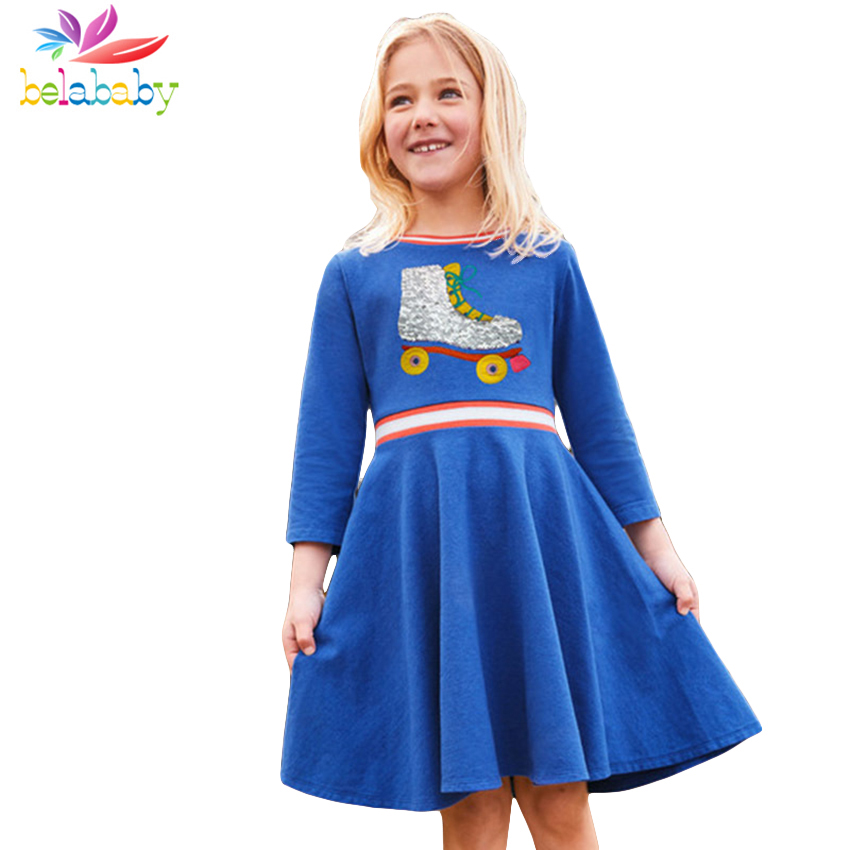 Belababy Baby Girls Dress 2018 Autumn Long Sleeves Children