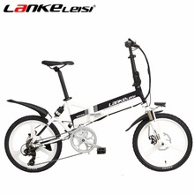 "LANKELEISI 20"" 48V Ebike 7-Speed MTB Electric Bike Full Suspension 240Watt 5 Motor Gear Folding Electric Bicycle Black-White(China)"