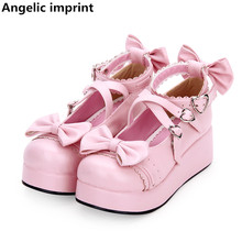 Cosplay Shoes Angelic Imprint Mid-Heels Princess-Dress Pumps Women Pearlescent Lolita