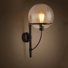 Lotf american vintage wall lamp e27 balcony stair glass lighting fitting wall lamp outdoor
