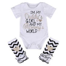 2017 Cute Newborn Baby Girl Clothes Set 0-18M Letter Printed Romper Bodysuit +Leg Warmer Outfits Kids Clothing - Mommy ^_^ store