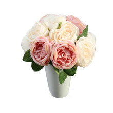 Artificial Rose Silk Flowers 5 Flower Head Leaf Garden Decor DIY pink hot sale on