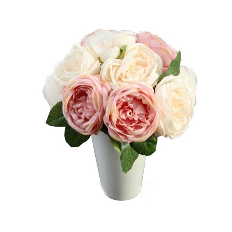 artificial rose silk flowers 5 flower head leaf garden decor diy pink hot sale on j10