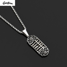 Goofan Hiphop Black Silver Fook Figure Abacus Pendant Necklace StainlessSteel Chinese Style Trendy Charm for Men Women STN618