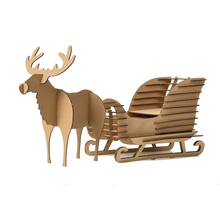 Cute Xmas Decoration Deer Sled Model DIY Kids Toys 3D Puzzle Reindeer Sleigh Snow Sledge Ornaments Christmas Gifts for Children