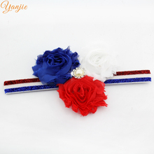 10pcs/lot 4th of July America Headband Patriotic Red White Blue Shabby Flowers Pearl Rhinestone Glitter Elastic Kids Headbands(China)